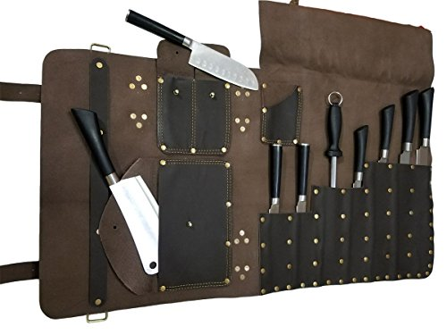 Professional Chef Bag Lightweight Genuine Premium DARK BROWN Leather 7 Pockets Knife Bag/Chef Knife Roll #K010 by luvsecretlingerie