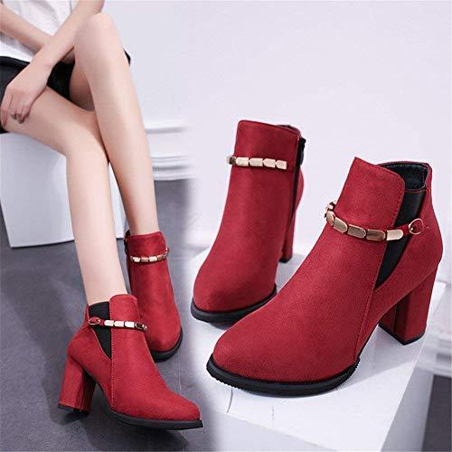 35 Side Femmes Sed De Boots Eu Talons Travail 's Zipper Bottes Chaussures Hauts Velcro À wIIBSqyO