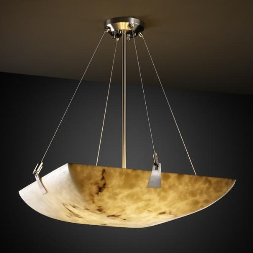 Justice Design Group FAL-9642 - Tapered Clips 24'' Pendant - Square Bowl Shade - Brushed Nickel (24' Shade Bowl)