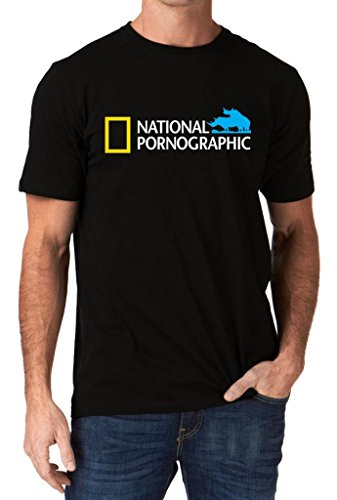 Funny National Pornographic Geographic Wild Porn Rude Dirty Men's T-Shirt X-Large Black