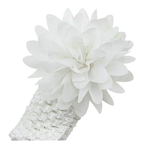 Demarkt Chic Serre-tête/ Bandeau à Cheveux Elastique Fleur Plume avec des Cristaaux Simulés déco Bébé Enfant Blanc