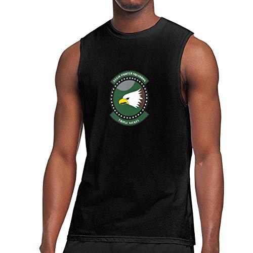 555th Fighter Squadron Men's Casual Sleeveless Slim Fit Muscle Shirt Tank Top Shirt Black