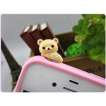30%OFF ZOEAST Adorable Sleeping Rilakkuma Panda Bear Dust Plug 3.5mm Phone Headphone Jack Earphone Cap Ear Cap Dust Plug Charm iPhone 4 4S 5 5S 6 6S Plus HTC Samsung iPad iPod (Beige Rilakkuma)