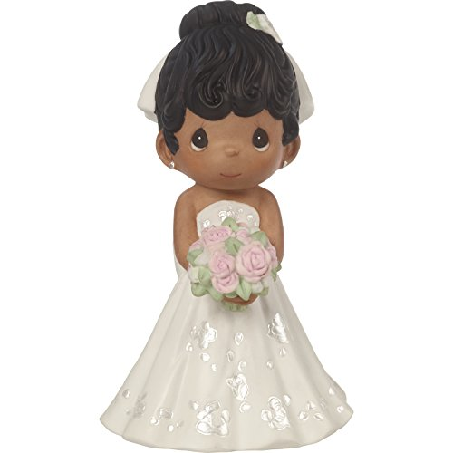 Mix Bisque - Precious Moments Perfect Couple Bride, Black Hair With Dark Skin Tone Bisque Porcelain Wedding Figurine & Cake Topper, 172067