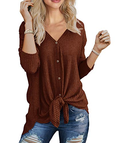 - IWOLLENCE Womens Loose Henley Blouse Bat Wing Long Sleeve Button Down T Shirts Tie Front Knot Tops Coffee M