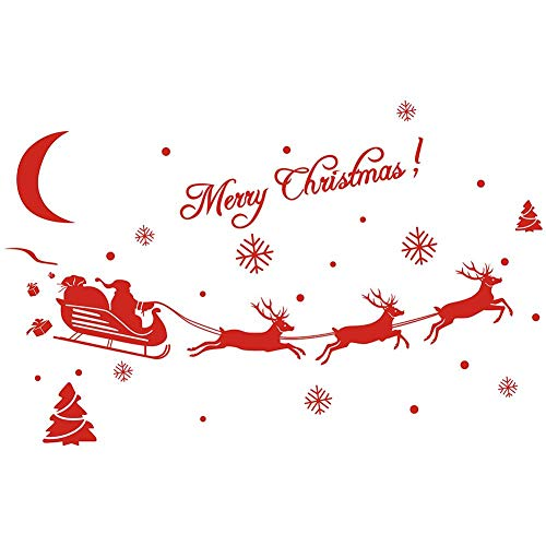 Christmas Wall Stickers Christmas Decorations Removable Art Decor DIY Wall Decal for Christmas Wall Living Room Bedroom Shop Window Office Wall Sticker by iShine ()