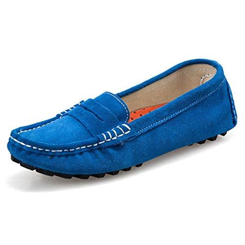 Oriskey Mocasines Pisos de Gamuza Mujer Loafers Casual Zapatos Zapatillas Azul