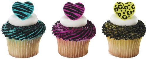Wild Hearts Zebra & Leopard Print Cupcake Topper Rings - Set of 12