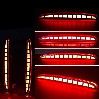 KE-KE Full LED Red Lens Bumper Reflector Lights for 2020 2020 2020 Honda Civic Hatchback Type-R 16-18 or SI 4-Door Sedan Tail Brake Rear Fog Lamps (Red): Automotive