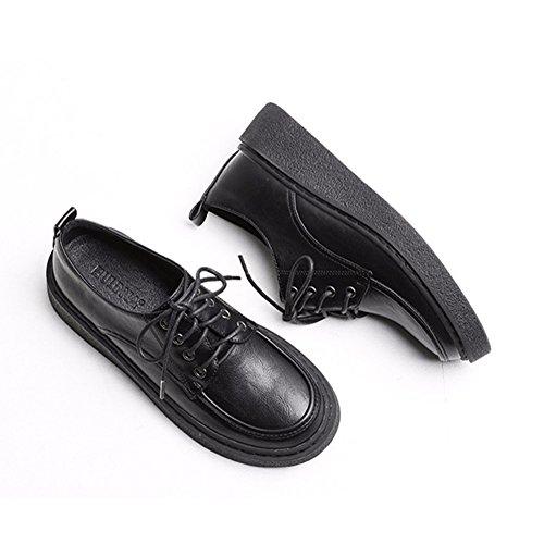 T-juillet Chaussures Mode Oxfords - Confortable Semelle Épaisse Lacets Bout Rond Chaussures Casual Noir