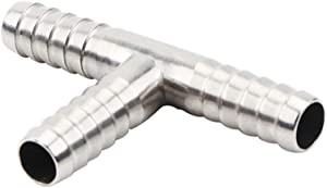 "Beduan Stainless Steel 1/2"" Hose Barb, 3 Way Tee T Shape Barbed Co2 Splitter Fitting"
