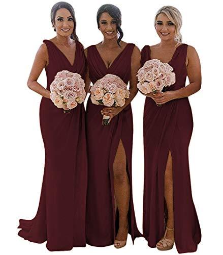 MARSEN Slit Bridesmaid Dresses Long V-Neck Chiffon Pleated Beach Wedding Party Dress 2019 Burgundy Size 4