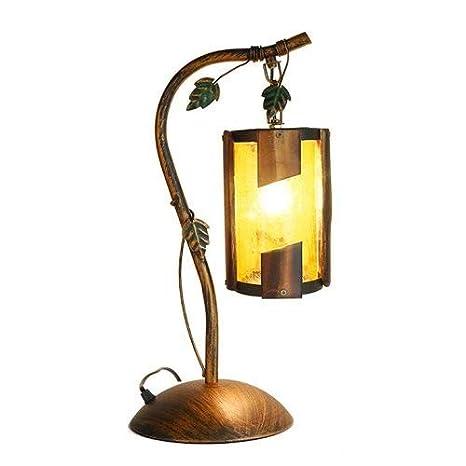 Lámpara de Mesa de Hierro Forjado de Estilo rústico Americano ...