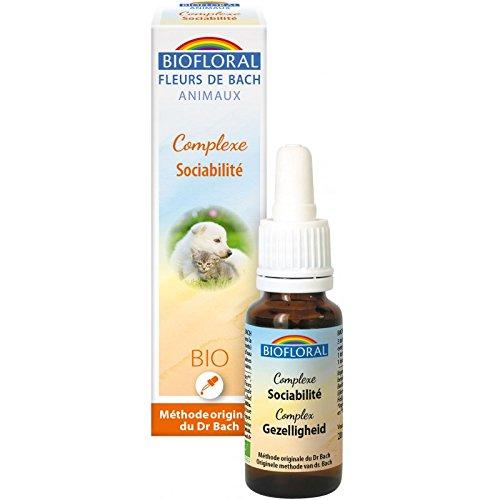 Biofloral Complexe Fleurs de Bach Sociabilité Vitamine/Compléments Alimentaire pour Chien 20 ML BI9126