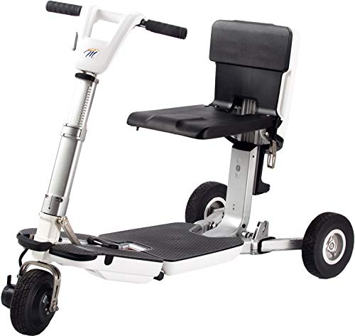 (Miracle Mobility Independence Series Electric Folding Mobility Scooter with 48V Lithium Ion Battery and 250 Watt Motor, White)