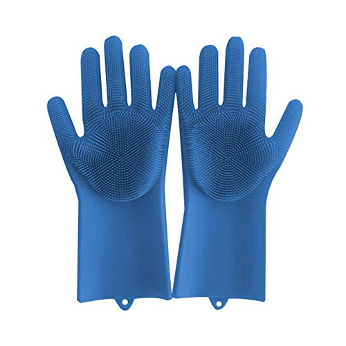 Price comparison product image Kitchen Silicone Gloves Heat Resistant Waterproof Cleaning Brush Gloves Reusable Gloves for Dish Wash Cleaning Pet Hair Care Household (Blue)