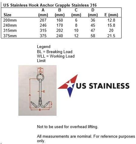 US Stainless Gancho de Acero Inoxidable 316 de 200 mm de Grado Marino