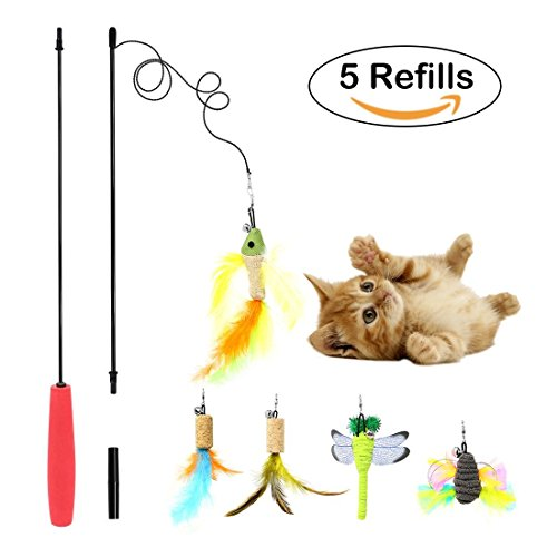 AiMiiNiii Retractable Cat Toys Interactive Feather Teaser Wand Toy with 5 Refills Feathers Birds Worms Catcher for Cats Kitten (Red)