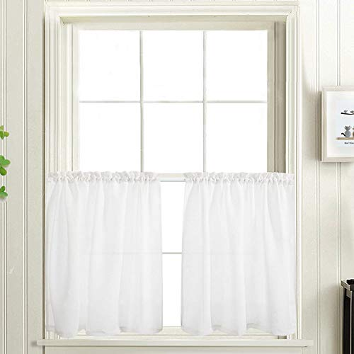 White Tier Curtains Semi Sheer Short Curtains