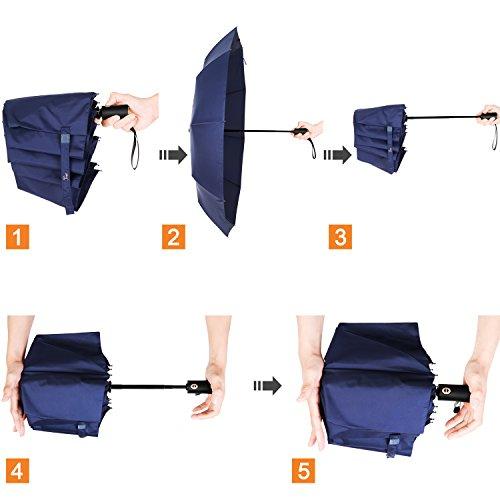 Travel Umbrella,Auto Open & Close, Travel 10 Ribs Folding Golf SizeUmbrella (blue) by Jemess (Image #8)
