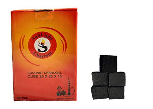 Sunlight Charcoal Coconut Coals - Coconut Charcoal Tablets for Shisha/Incense - Natural, No Odor, No Bad Taste - Coconut Cube Coals - 2.5 x 2.5 x 1.5 cm- 108/54/ 27 Pack (108)