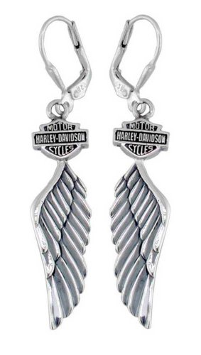 Harley-Davidson Women's Bar & Shield Winged Dangle Earrings HDE0126