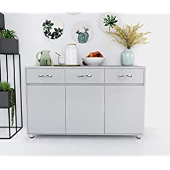 Kitchen Kitchen Buffet Cabinet Dining Room Sideboard with 3 Drawers Buffet Table with Storage,Grey Storage Cabinet (Grey) modern buffet sideboards