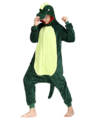 BIFINI Dinosaur Couples Halloween Costumes Onesie Pajamas Party Wear Green S2