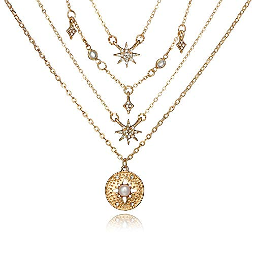 Bestgo Necklace for Women Lady, Crystal Rhinestone Tassel Multi-Layer Necklace Pendant Sweaters Snake Chain Gift]()