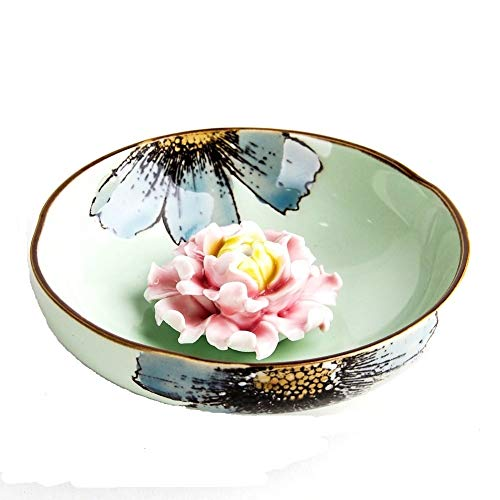 (Artcer Ceramic Handmade Lotus Incense Holders Rround Ash Catcher Plate,Green-Red)