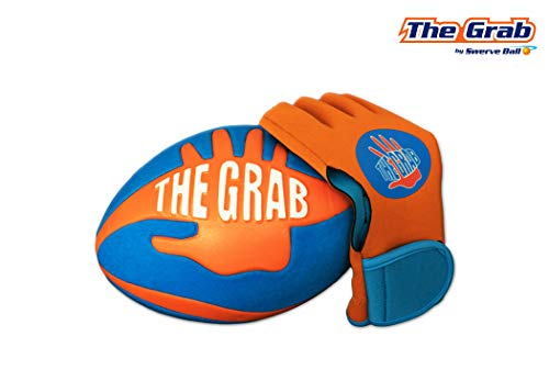 The Grab - Super Grip Football Allows You to Play Like a PRO! - Includes one Football, and Glove - Amazing Foot Ball Toy Gives Anyone The Ability to Catch - by The Makers of Swerve Ball