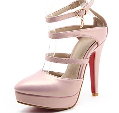YCMDM Womens artificiale PU High Heel Salsa Tango ballo latino Monk Strap Sandals di ballo di sera del partito da sposa , pink , 38