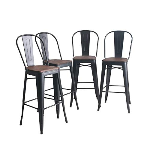 YongQiang Metal Barstools Set of 4 Indoor Outdoor Bar Stools High Back Dining Chair Counter Stool Cafe Side Chairs with Wooden Seat 26 inch Matte Black