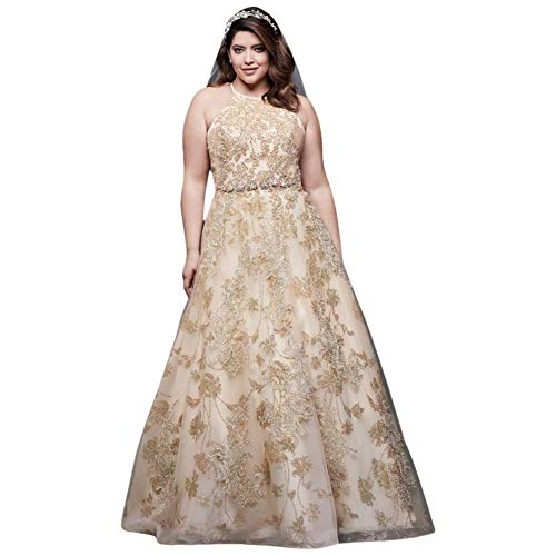Allover Lace Applique Halter Plus Size Ball Gown Style 9SWG801
