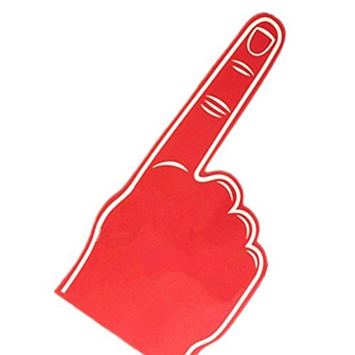 Palm printed giant EVA foam hand glove pointy finger (Red)