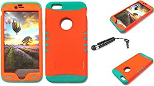 Cell-Attire Shockproof Hybrid Case For Apple Iphone 6 Plus and Stylus Pen, Teal Soft Rubber Skin with Hard Cover (Neon Orange) AT&T, T-Mobile, Sprint, Verizon, Boost Mobile, U.S Cellular, Cricket by Maris's Diary