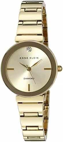 Anne Klein Women's AK/2434CHGB Diamond-Accented Gold-Tone Bracelet Watch