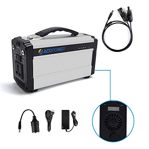 ACOPOWER Portable Solar Generator for Camping 60,000mAh Lithium Ion Battery DC Inverter Power Bank USB/5V DC/12V 110V Input: AC, Car & Solar Panel