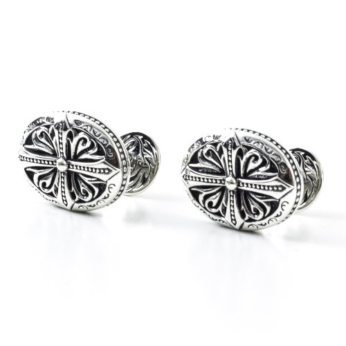 Scott Kay Sterling Silver Sparta Collection Engraved Designer Cufflinks
