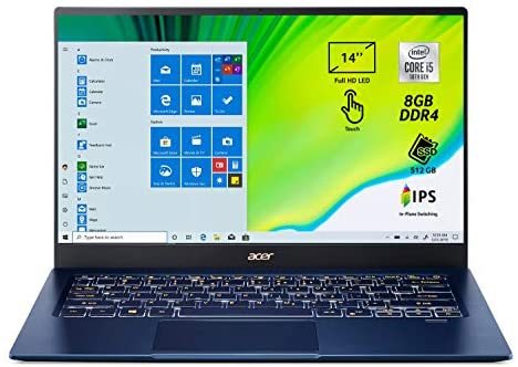 Acer Swift 5 SF514-54T-50V1, PC Portatile, Notebook, Intel Core i5-1035G1, RAM 8 GB, 512 GB PCIe SSD, Display Multi-touch 14″ FHD IPS LED, USB-C, 990 g, Grafica Intel UHD, WIFI 6, Windows 10 Home