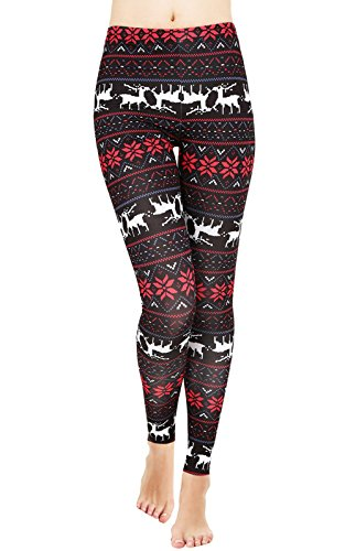 - DawnRaid Soft Leggings for Women Christmas Reindeer Print Legging Tights Black L