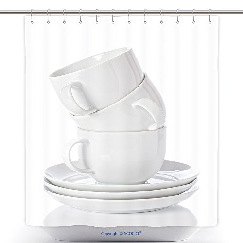 Custom Shower Curtains Stack Of White China Cups And Saucers On A White Background 125054348 Polyester Bathroom Shower Curtain Set With Hooks