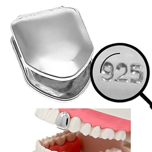 Harlembling Solid 925 Sterling Silver Real Single Tooth Grillz - Grills Cap for Teeth - Real Solid Silver NOT Plated -