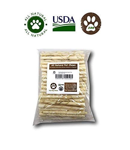 (Rawhide Natural Twist Sticks -Pack Of 100 From Top Dog Chews - Regular)