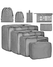 Meowoo Travel Packing Organizers,9 Pcs Suitcase Packing Cubes,Waterproof Multi-Functional Luggage Compression Organizer Bags