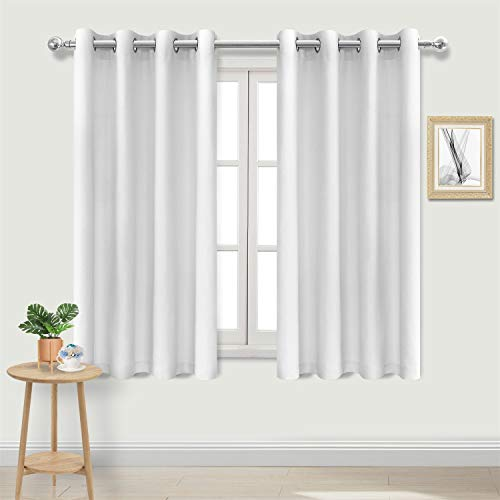 DWCN Faux Linen White Curtains - Light Filtering Grommet Window Curtains for Bedroom, 52 x 45 inch Length, Set of 2 Curtain Panels (Length 45 Curtains)
