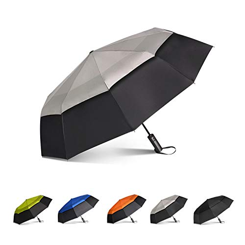 Brainstorming 47inch Portable Golf Umbrella Large Windproof Double Canopy, Auto Close and Open Double Canopy with Teflon Coating(Black &Grey)
