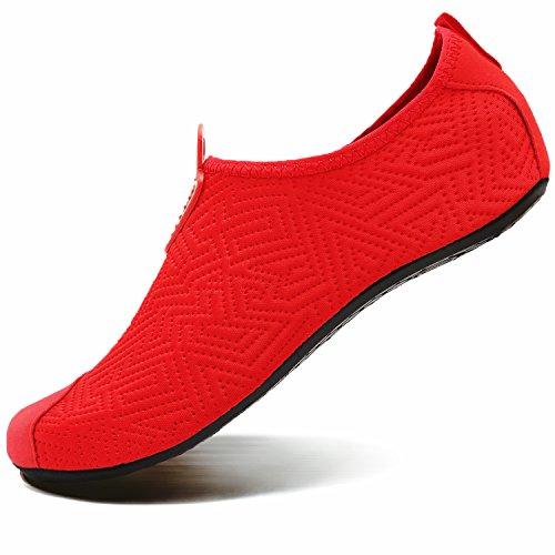 Pour Femmes De Vifuur Pieds Yoga Nautique on Chaussettes Rouge À Chaussures Nus Aqua Sport Hommes Enfants Rapide Séchage Slip Sa5a6rqw
