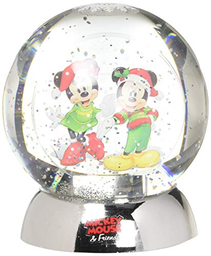 """Department 56 Disney Classic Brands Mickey and Minnie Waterdazzler Waterball, 4.5"""" Snowglobe, Multicolor"""
