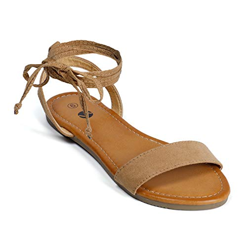Soles & Souls Lace Up Open Toe Ankle Strap Flat Sandals for Women Brown 05
